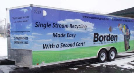 Waste-Away Group, LTD (Borden): printed, laminated and installed on a company trailer