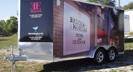 Brick & Mortar: printed, laminated and installed on a corporate trailer