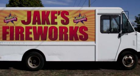Jake's Fireworks: printed, laminated and installed by Coach Guard