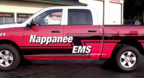 Nappanee EMS truck: designed, printed, laminated and installed by Coach Guard