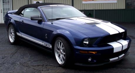 Blue Mustang GT 500: gloss white stripes installed by Coach Guard