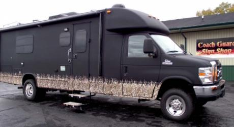 Matte Black RV: provided Mossy Oak Grassy installed by Coach Guard