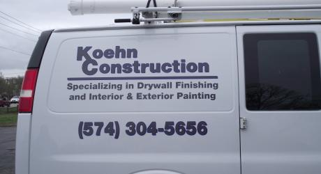 Koehn Construction: cut lettering, printed, laminated and installed