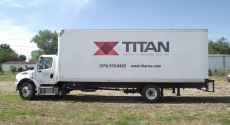Titan box truck: printed, laminated and installed by Coach Guard.