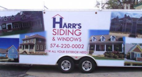 Harr's Siding & Windows: designed, printed, laminated and installed on a company trailer