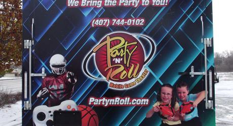 Party 'N' Roll: designed, printed, laminated and installed on a video game trailer