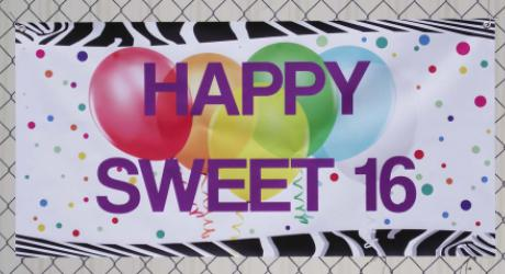 Happy Sweet 16 banner: printed 13 oz. block out banner material with grommets