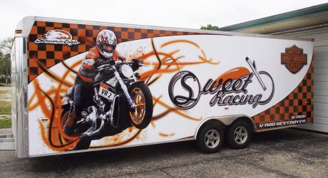 Sweet Racing: designed, printed, laminated and installed on a race trailer