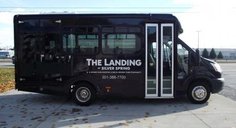 The Landing: lettering installed by Coach Guard
