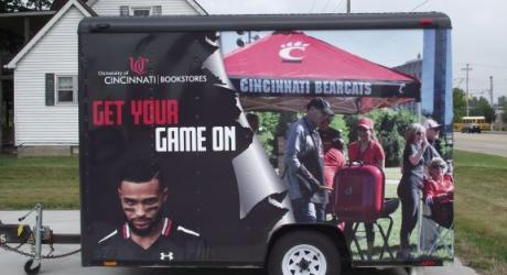 University of Cincinatti Trailer: printed, laminated and installed on a merchandise trailer
