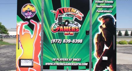 Xtreme Gamers DFW: designed, printed, laminated and installed on a video game trailer