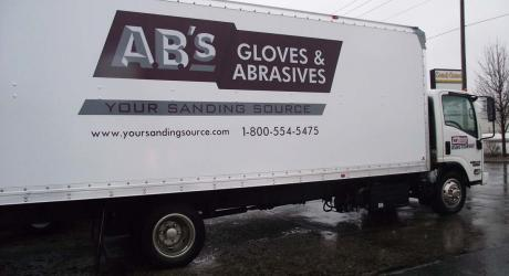 AB's Gloves and Abrasives: printed, laminated and cut graphics installed