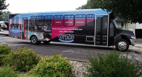 Capstone Cottages of San Antonio Full Wrap: provided graphics installed by Coach Guard