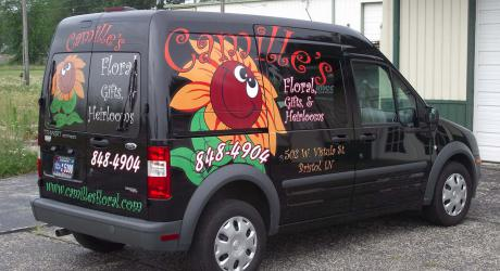 Camille's Floral: printed, laminated and cut graphics installed
